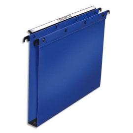 OBLIQUE AZ Paquet de 10 dossiers suspendus TIROIR en polypro opaque 5/10e. Fond 30, bouton-pression. Bleu photo du produit