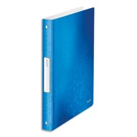LEITZ Classeur 4 anneaux Ø25 WOW en polypropylène. Dos 30mm, coloris Bleu. photo du produit