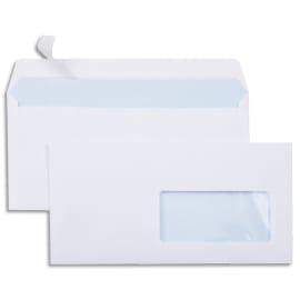 Boîte de 500 enveloppes Blanches 80g DL 110x220 mm fenêtre 45x100 mm auto-adhésives photo du produit
