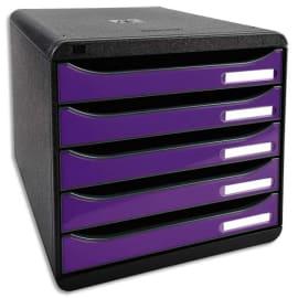 EXACOMPTA Module de classement 5 tiroirs. Coloris Noir/Violet glossy. Dim : L27,8 x H26,7 x P34,7 cm. photo du produit
