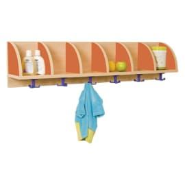 MOBEDUC Portemanteau pour 6 avec 6 cases et demi lune latérales de séparation 119x22x28cm, Orange photo du produit