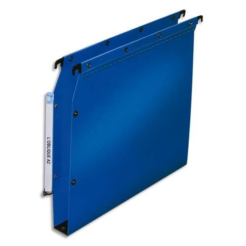 OBLIQUE AZ Paquet de 10 dossiers suspendus ARMOIRE en polypro opaque 5/10e. Fond 30, bouton-pression.Bleu photo du produit Principale L