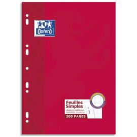 OXFORD Etui 200 copies simples 90g perforées Blanches grand format A4 grands carreaux Séyès photo du produit