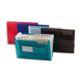 Trieur 13 compartiments en polypropylène, pochettes pour cartes de visite, coloris Bleu opaque photo du produit