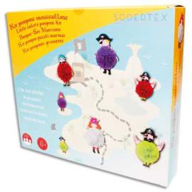 SODERTEX Kit de 12 Pompons Moussaillons, à fabriquer, personnages en carton et fils de laine photo du produit