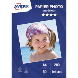 AVERY Boîte de 50 feuilles de papier photo brillant A4, Jet d'encre, 200g/m² photo du produit