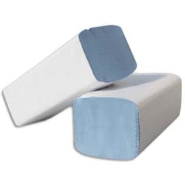 Colis de 30 Paquets de 100 Essuie-mains 2 plis plié en W, Ft 22 x 35 cm Bleu photo du produit