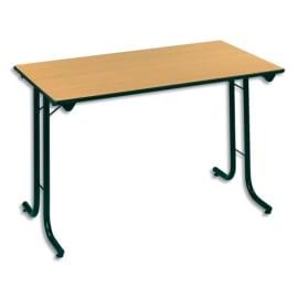SODEMATUB Table polyvalente pliante rectangulaire 120 x 70 cm hêtre/Noir photo du produit