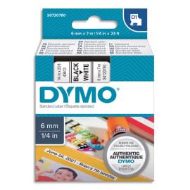 DYMO Ruban D1 Noir/Blanc 6MMX7M pour 1000/1000+/2000/3500/4500/5000/5501 S0720780 photo du produit