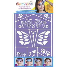GRIM TOUT Lot de 4 pochoirs maquillage thème pirate, chevalier, jungle, chat et papillon, conte de fées photo du produit