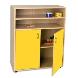 MOBEDUC Meuble L90 x H112 X P40 cm, 2 étagères, 2 portes poignée couleur Jaune photo du produit
