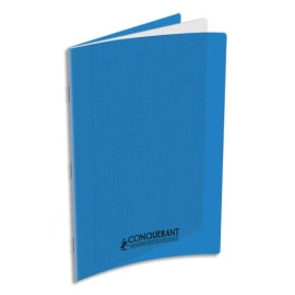 CONQUERANT C9 Cahier piqûre 21x29,7cm 48 pages 90g grands carreaux Séyès. Couverture polypropylène Bleu photo du produit