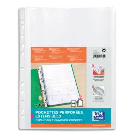 OXFORD Sachet de 10 pochettes-plan sans rabat en polypro lisse 20/100e. Format A4, perforation 11 trous photo du produit