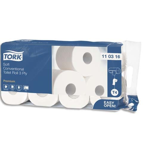 TORK Paquet de 8 rouleaux Papier toilette Traditionnel doux Premium 3 plis 250 feuilles photo du produit Principale L