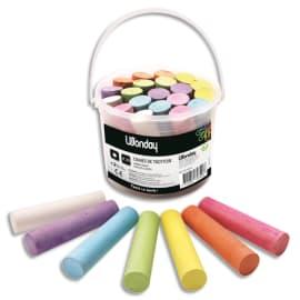 JPC Seau contenant 20 craies pour trottoir dimensions 10cm x 25mm, couleurs assorties photo du produit