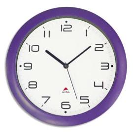 ALBA Horloge murale Hornew silencieuse Prune, pile AA non fournie - Diamètre 30 cm photo du produit