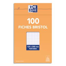 OXFORD Boîte distributrice 100 fiches bristol perforées 125x200mm 5x5 Blanc photo du produit