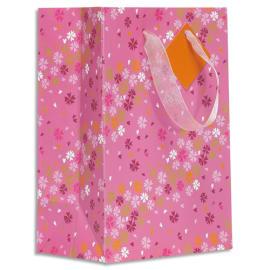 DRAEGER Sac cadeau papier petit format L16xH23cm Rose Fleurs. Finition or à chaud. Poignées en ruban photo du produit