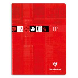 CLAIREFONTAINE Cahier TP reliure piqûre 40 pages grands carreaux+40 pages unies 17x22cm. Couverture carte photo du produit