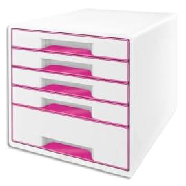 LEITZ Bloc de classement Dual Blanc laqué Rose, 5 tiroirs - Dimensions : L36,3 x H27 x P28,7 cm photo du produit