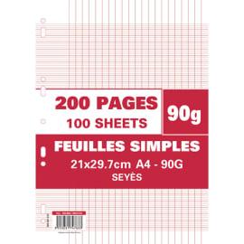 Sachet de 200 pages copies simples grand format A4 grands carreaux Séyès 90g perforées photo du produit