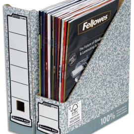 BANKERS BOX Porte-revues dos 8 cm pour format A4, carton recyclé Gris/Blanc photo du produit