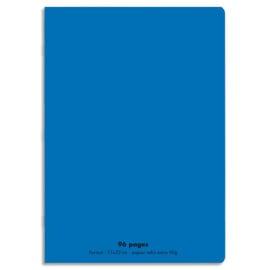 CONQUERANT C9 Cahier piqûre 17x22cm 96 pages 90g grands carreaux Séyès. Couverture polypropylène Bleu photo du produit