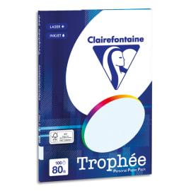 CLAIREFONTAINE Pochette de 100 feuilles papier couleur TROPHEE 80 grammes format A4. Coloris Bleu photo du produit