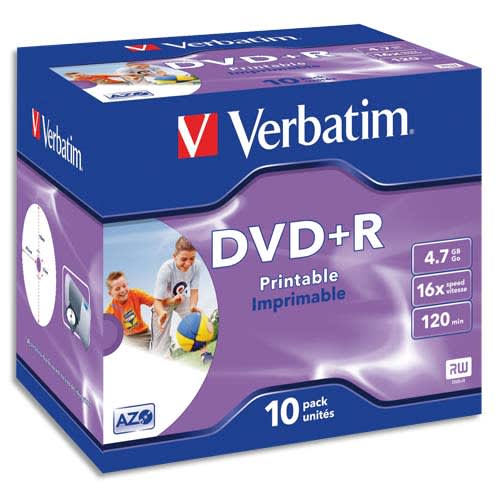 VERBATIM Pack de 10 DVD+R imprimable 4.7Go 16x 043508 photo du produit Principale L