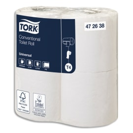 TORK Colis de 12 paquets de 4 rouleaux Papier toilette traditionnel Universal Blanc 2 plis 198 feuilles photo du produit