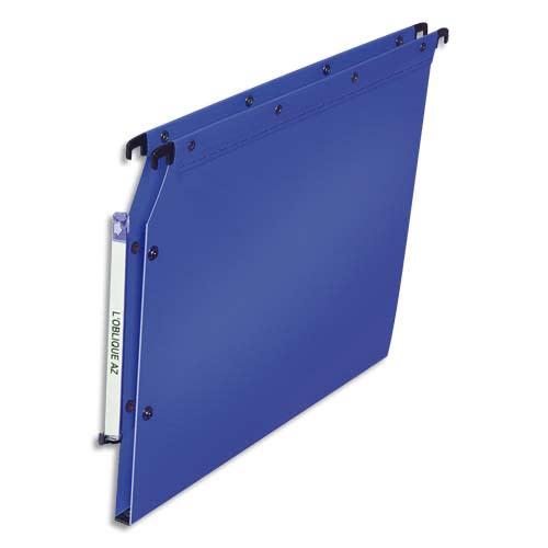 OBLIQUE AZ Paquet de 10 dossiers suspendus ARMOIRE en polypro opaque 5/10e. Fond 15, bouton-pression.Bleu photo du produit Principale L