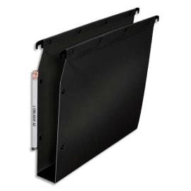 OBLIQUE AZ Paquet de 10 dossiers suspendus ARMOIRE en polypro opaque 5/10e.Fond 50, bouton-pression. Noir photo du produit