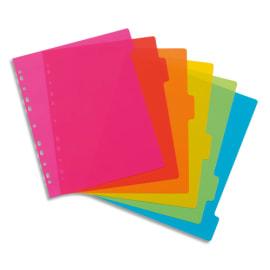 VIQUEL Jeu de 6 intercalaires polypropylène HAPPYFLUO A4 maxi. Coloris fluo multicolores photo du produit