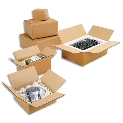 Paquet de 20 caisses américaines simple cannelure en kraft écru - Dimensions : 60 x 40 x 30 cm photo du produit Principale L