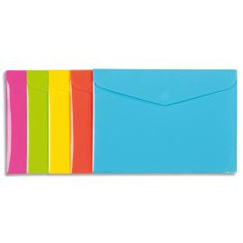 VIQUEL Chemise enveloppe HAPPY FLUO en polypropylène 2/10ème. Format 33,5 x 24 cm. Coloris assortis photo du produit