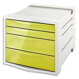 ESSELTE Bloc de classement 4 tiroirs COLOUR'ICE Jaune. Dimensions (lxhxp) : 24,5x36,5x28,5cm photo du produit