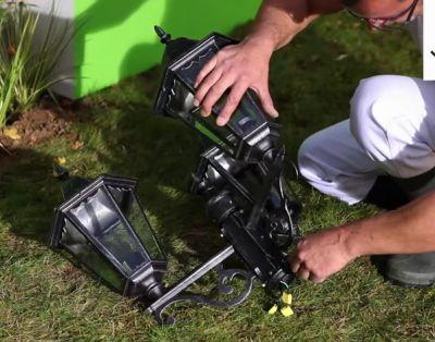Как установить светильники в грунт или садовый столб