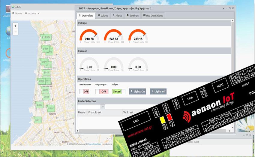 aenaon solutions - aenaon IoT - εφαρμογές smart city - Συστήματα διαχείρισης πινάκων οδοφωτισμού με υποστήριξη GIS - street lights pillars control systems