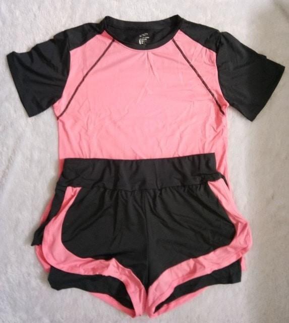jual Baju Kaos Setelan Set Sport   Celana Hotpant Senam Gym Fitnes