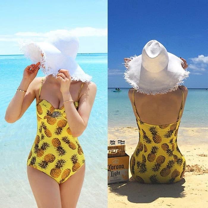 jual Onepiece Pineapple / Bustier Bikini Push Up   Baju Renang   - Blue