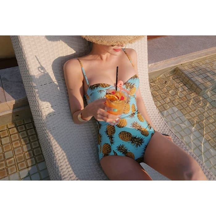 jual Baju Renang   Bikini Set Swimsuit Swimwear Murah Bra Monokini - Blue, M