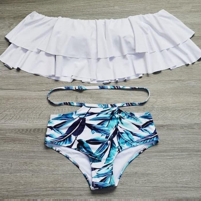jual Bikini Set Sabrina Swimwear Baju Renang   Busa Celana     - Putih