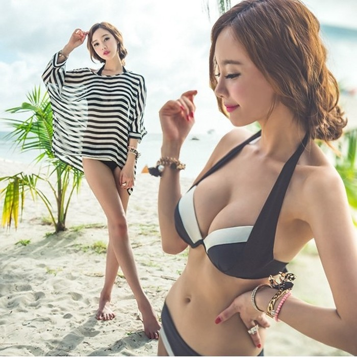 jual outer garis tipis bikini set 3pcs push up baju renang pantai swimsuit