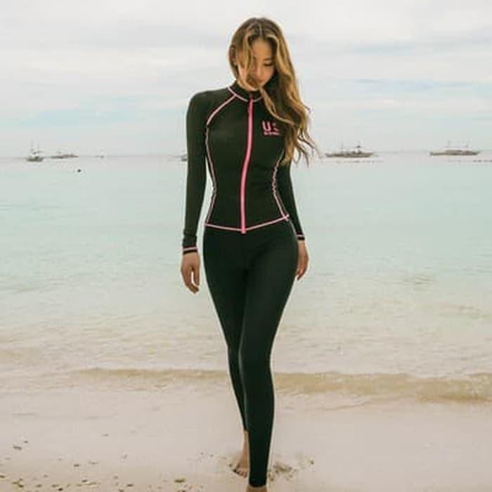 jual Baju Renang   Rashguards Lengan Panjang Bikini set 4 pcs Busa Bra - Hitam, M