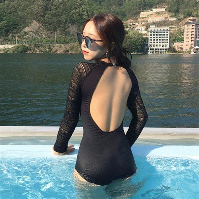 jual bikini sexy korea import one piece baju renang panjang swimsuit busa