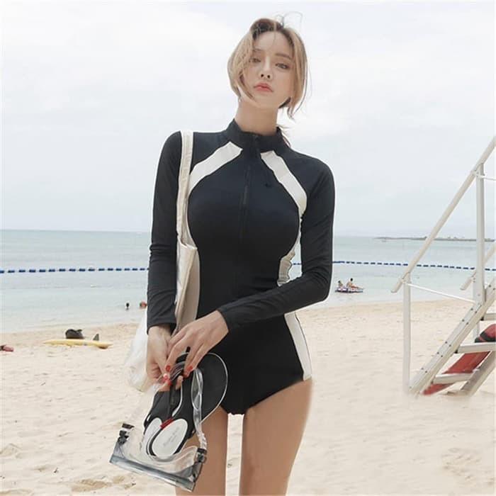 jual Baju Renang Lengan Panjang Muslim Monokini Swimsuit Swimwear
