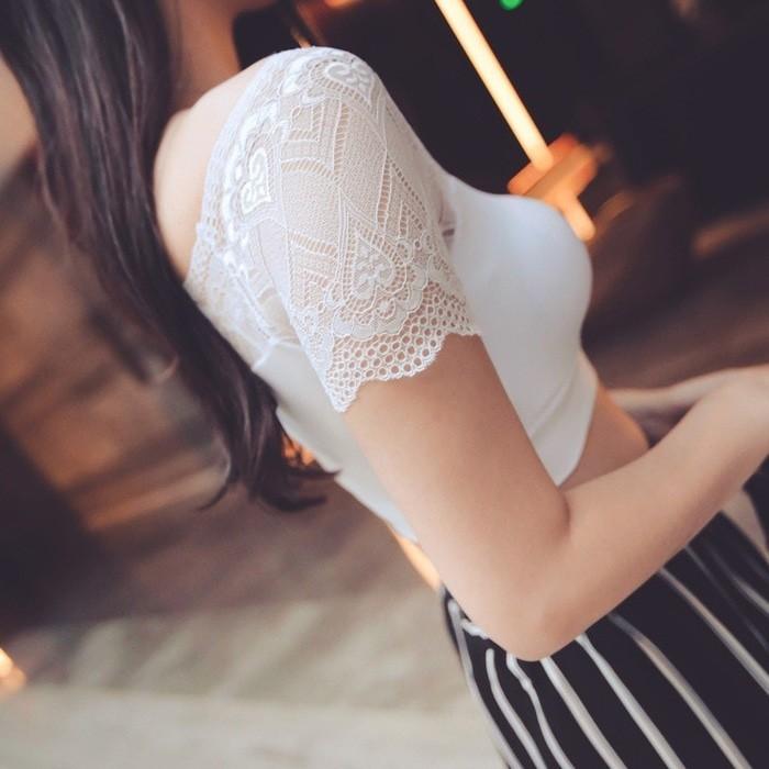 jual SEXY8 - Sabrina Lace Top Bra Brukat Tanktop Bralette Baju Kemben Kaos - Hitam