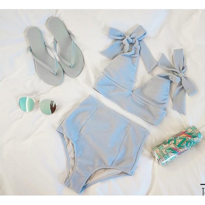 jual Bikini set v neck tali     tankini bralette swimwear monokini b