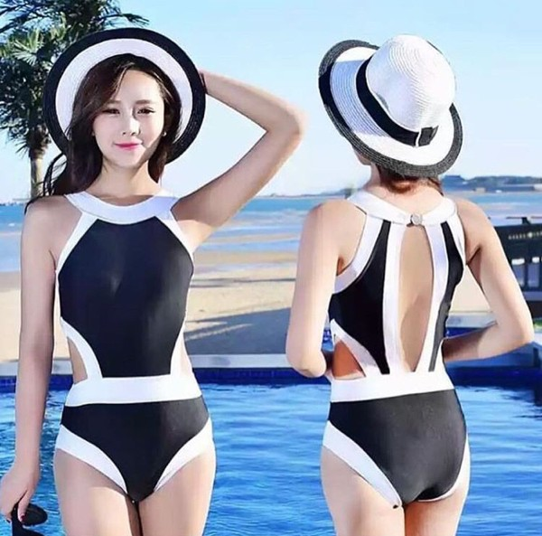 jual Bikini Baju Renang   Swimsuit Swimwear Monokini One Piece Murah - Hitam, S