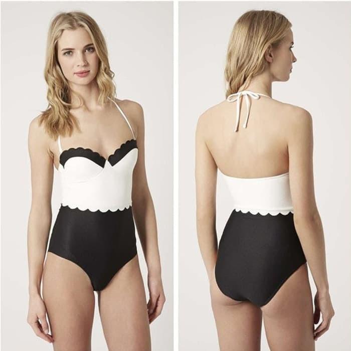 jual Monokini Swimwear Swimsuit Bikini Baju Renang   Underwear Bra - Hitam, S